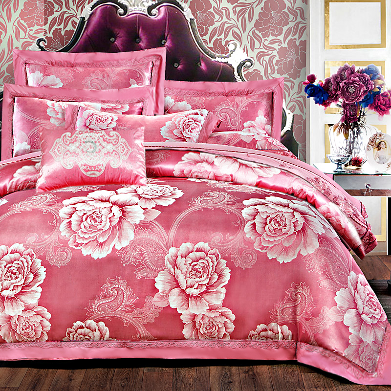 Luxury Silk Bedding Set Embroidery Bed Linens Tencel Satin Bed Sheet Set Jacquard Bedclothes Full/Queen/King Size Bed coverLuxury Silk Bedding Set Embroidery Bed Linens Tencel Satin Bed Sheet Set Jacquard Bedclothes Full/Queen/King Size Bed cover