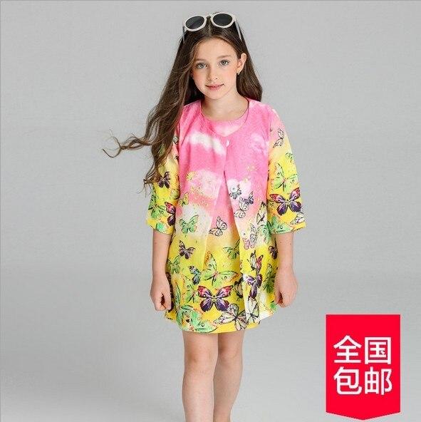 2017 новый осень детей Корейские девушки dress костюм дети бабочка рукавом Жаккардовые Dress Пальто мода костюмы для девочек