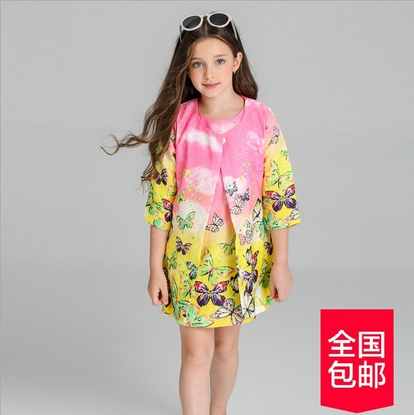 2017 new the autumn the child Korean girls dress suit children butterfly sleeve Jacquard Dress Coat fashion suits for girls