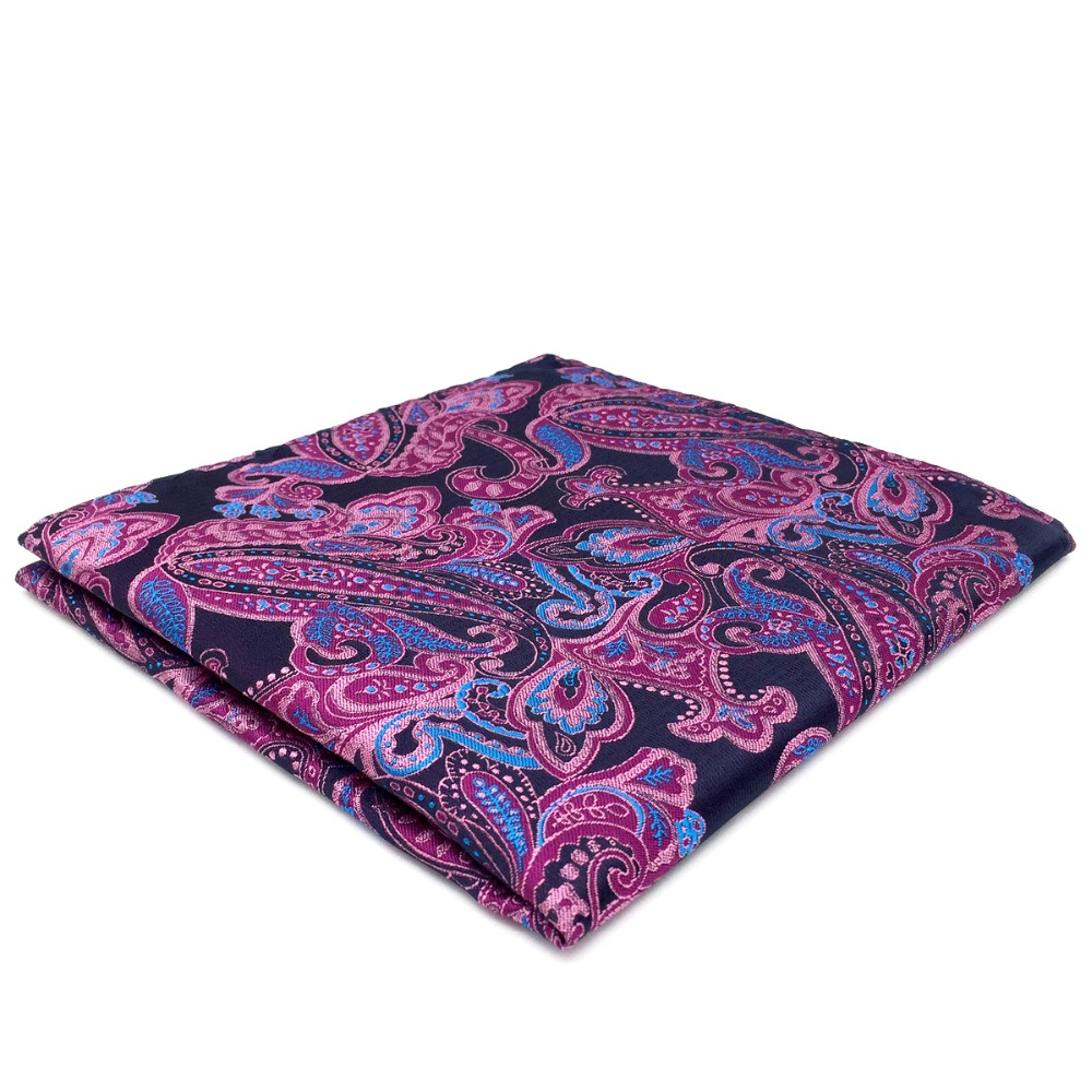 Paisley Blue Pink Pocket Square Silk Handkerchief Big Size 12.6