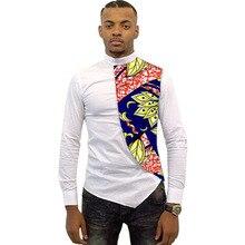 Фотография Asymmetrical design men dashiki shirt slim fit men tops customized africa african clothes fashion patchwork t shirt