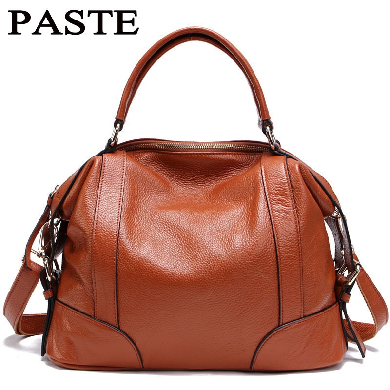 PASTE Lady Real Leather Handbags Famous Brands Designer Handbags High Quality Tote Bag Bolsa Femininas European Fold Style T235