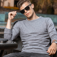 2019 spring and autumn winter casual men's sweater round neck long sleeve slim solid color sweater coat brand men's clothing