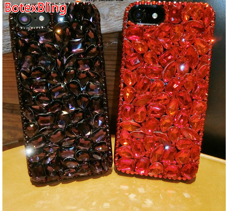 BotexBling Diy gem crystal diamond case for iphone 7 case 7plus 6 6s plus 6plus 5s se emerald ruby S8 Plus for iphone X 8 8plus