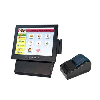 Бесплатная доставка 12 дюймов ЖК-дисплей мониторный терминал продажа кассовый аппарат все-в-одном Pos система плюс 58 мм Термопринтер