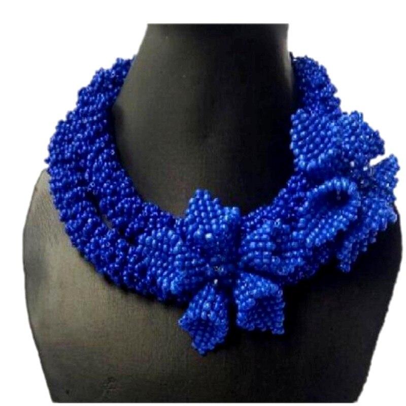 Bijoux fantaisie 2018 perles africaines ensemble de bijoux de marque Bracelet boucles d'oreilles et collier ensemble Royal bleu audacieux fleurs Design nouveau