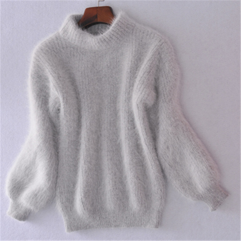 19 Winter New Fashion Thickened Warm Turtleneck Mohair Female Sweater Lantern Sleeve Casual Solid Color Slim Simple Pullover 5