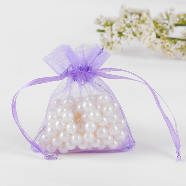 Party Favor Bags 9x12cm Light Purple Organza Jewelry Sheer Pouch Drawstring Custom Logo