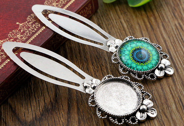 New Fashion 2pcs 20mm Inner Size Antique Silver Simple Style Handmade Bookmark Cabochon Base  Cameo Setting (H1-12)