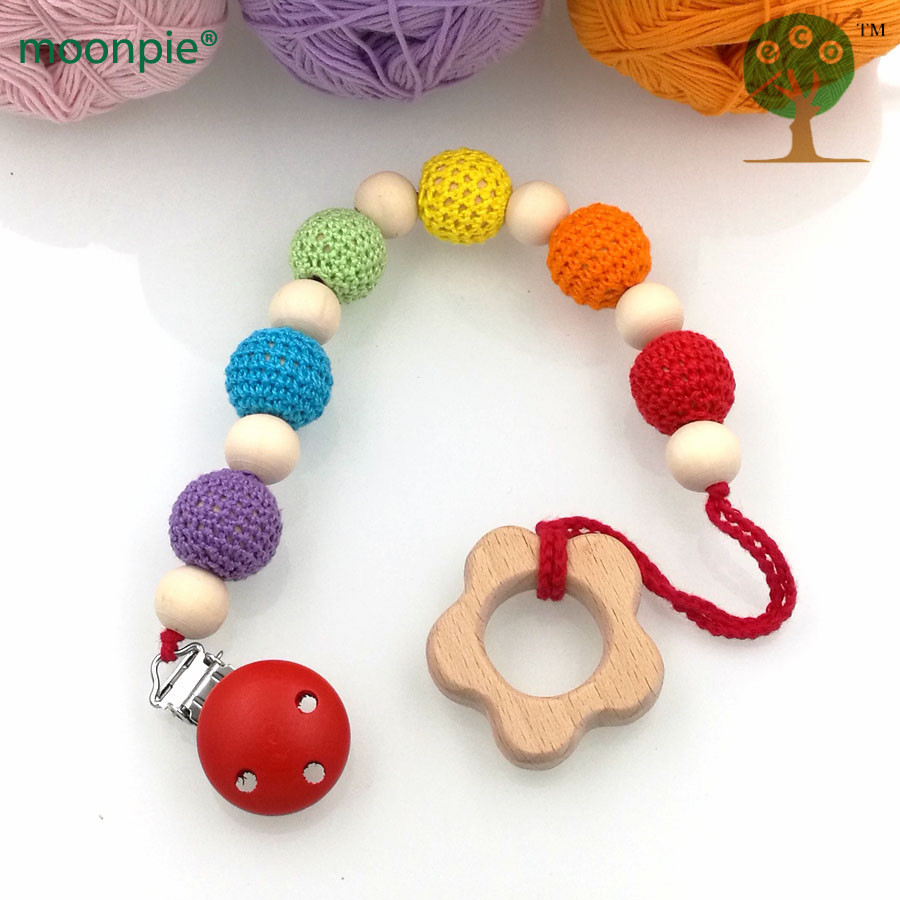 Rainbow Crochet Beads Pacifier Clip Holder With Beech Wooden