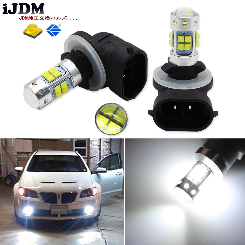 iJDM Extremely Bright xenon white 881 H27 LED Lights For Cars Fog Lamps or Driving Light Replacement Upgrade,H27W/2 H27W2 led лампа автомобильная avs atlas anti fog h27 881 12v 27w