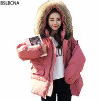 Plus Size Winter Jacket Women Korean 2018 Casual Cotton Padded Coat Thick Bread Clothes Big Hair Collar Down Cotton Parka A549