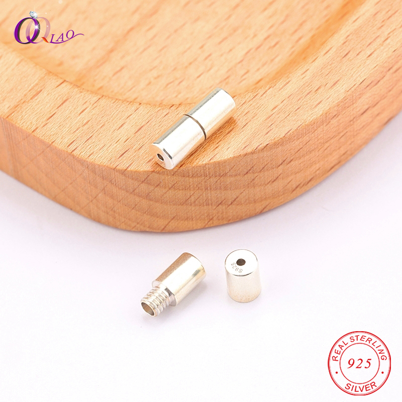 One Piece 5x11mm 925 Sterling Silver Screw Thread Clasps Soild Silver Conncetctors For Necklace&bracelet Jewelry Findings