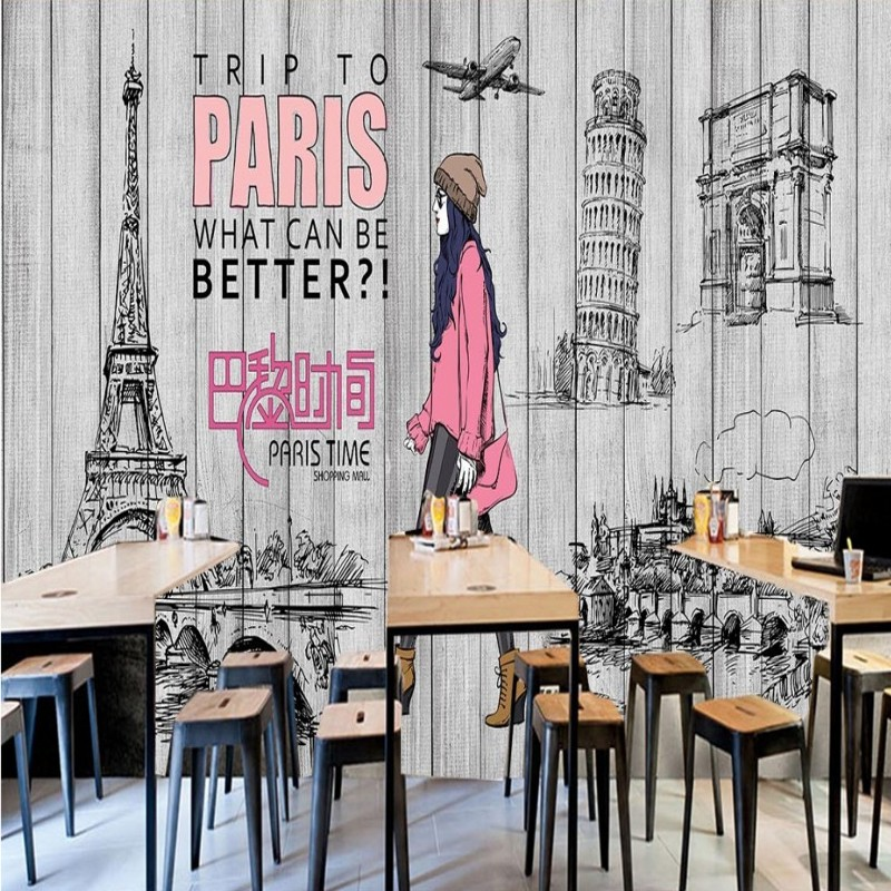 Custom 3d wallpaper Retro Nostalgic Fashion Wooden Beauty Clothing shop Background Wallpaper shopping mall corridor mural