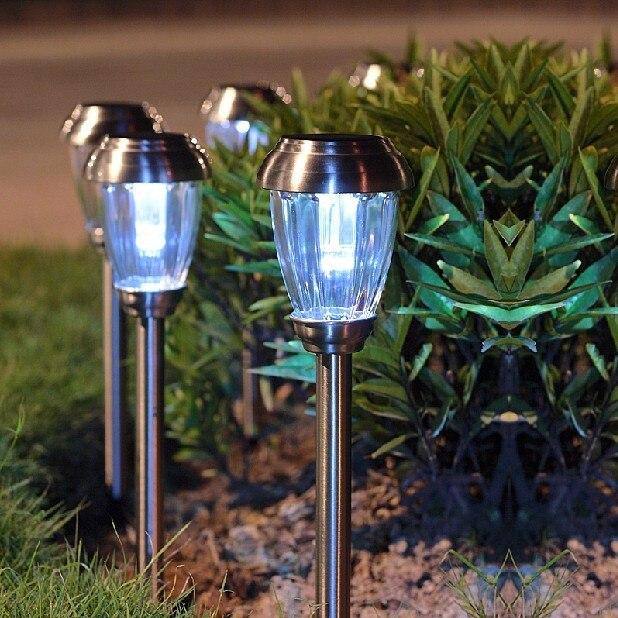 ФОТО Energy Saving LED Solar Landscape Lighting Stainless Steel Garden Lawn Lights Park Courtyard Pin Lamp Outdoor Spotlights H43cm