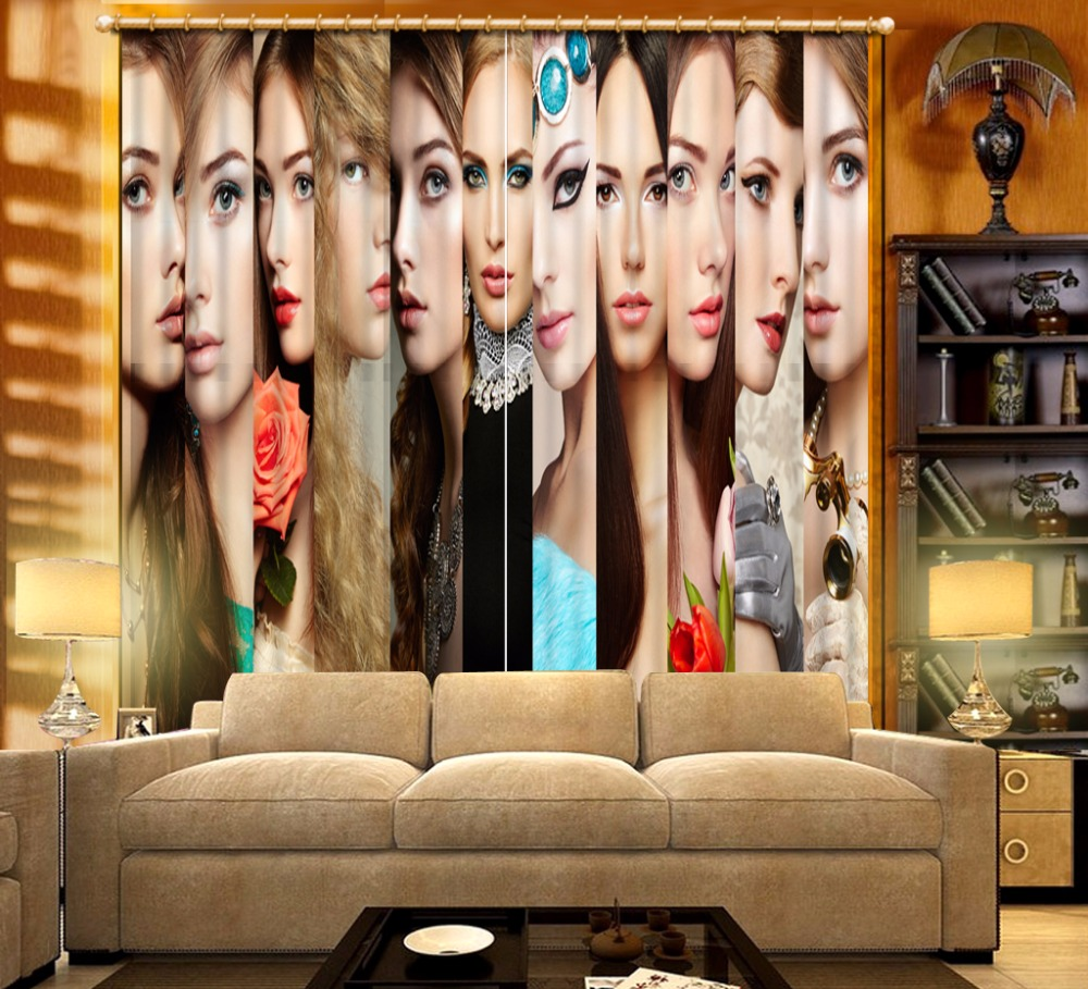 Modern Fashion Blackout Bedroom Curtains Woman <font><b>Photo</b></font> Curtains Drapes For Living Room <font><b>Sexy</b></font> Woman Curtain <font><b>3D</b></font> Decoration image
