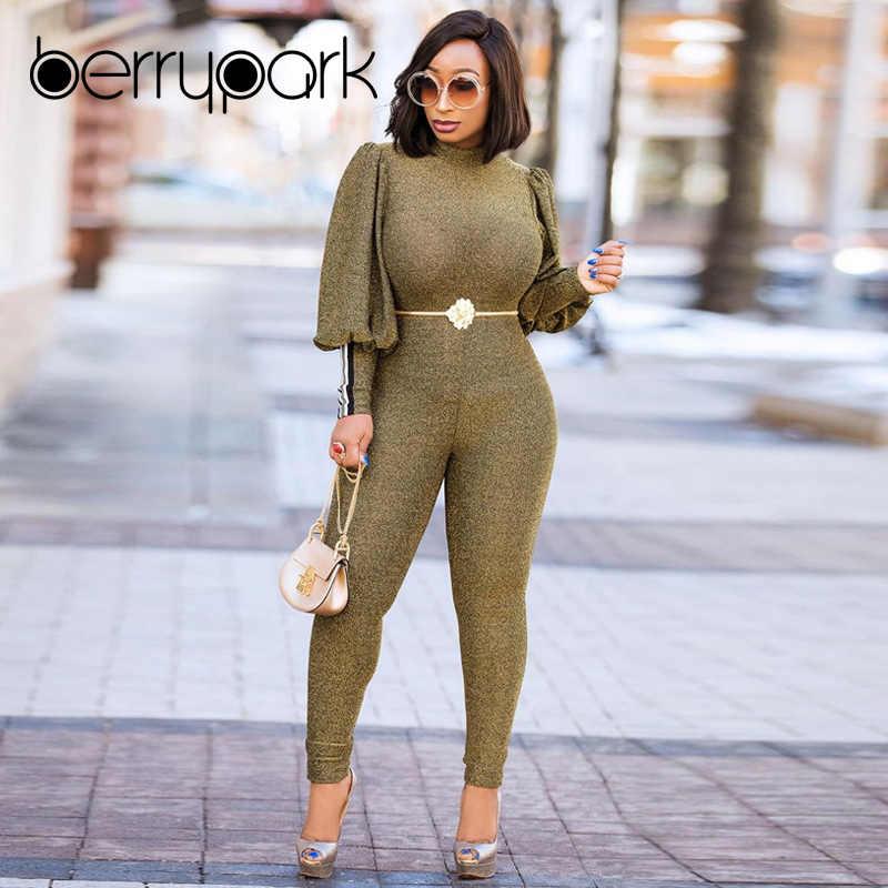 0dde13cb566 BerryPark Hot Fashion High Street Elegant Lantern Sleeve Bodycon Jumpsuit  2019 Winter Women Gold Green Romper