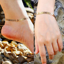 Women Shell Slices Anklet Adjustable Hot Sale High Quality Women Golden Unique Fishbone Silver Bracelet Girls Alloy 1PC Girls(China)