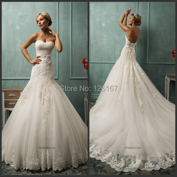 Drapped Mermaid Wedding Dresses 2017 Hot Style Lace Appliqued Tulle ...