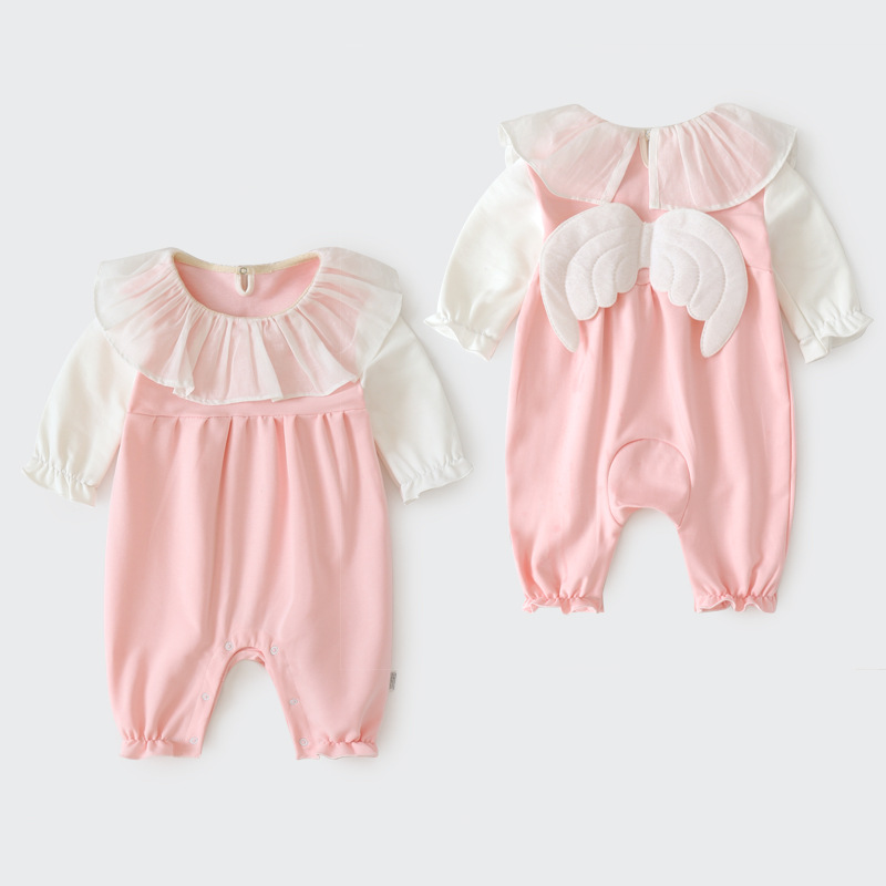 2019 Newborn Baby Pure Cotton Jumpsuit Full Moon Clothes Infant Girls Lace Collar Wings   Rompers   Anutumn Roupa Pajamas Clothing