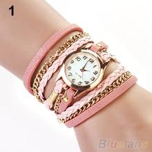 2014 New FAshion Hot Colorful  Vintage  women watches  Weave Wrap Rivet Leather Bracelet wristwatches watch 0WC4 W2E8D