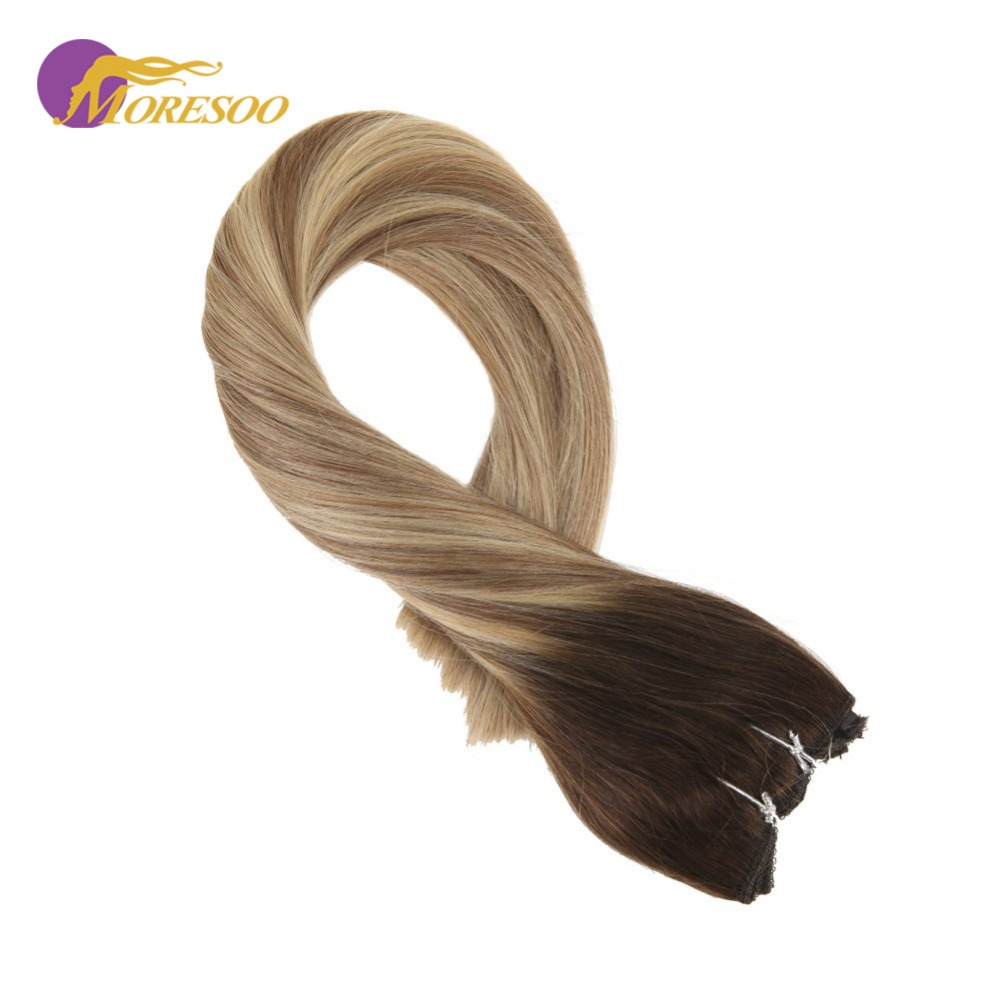 Moresoo Flip In Real Remy Human Hair Extensions Balayage Color #3/8/22 Fishing Line Halo Invisible Hidden Secret Wire 50-100G