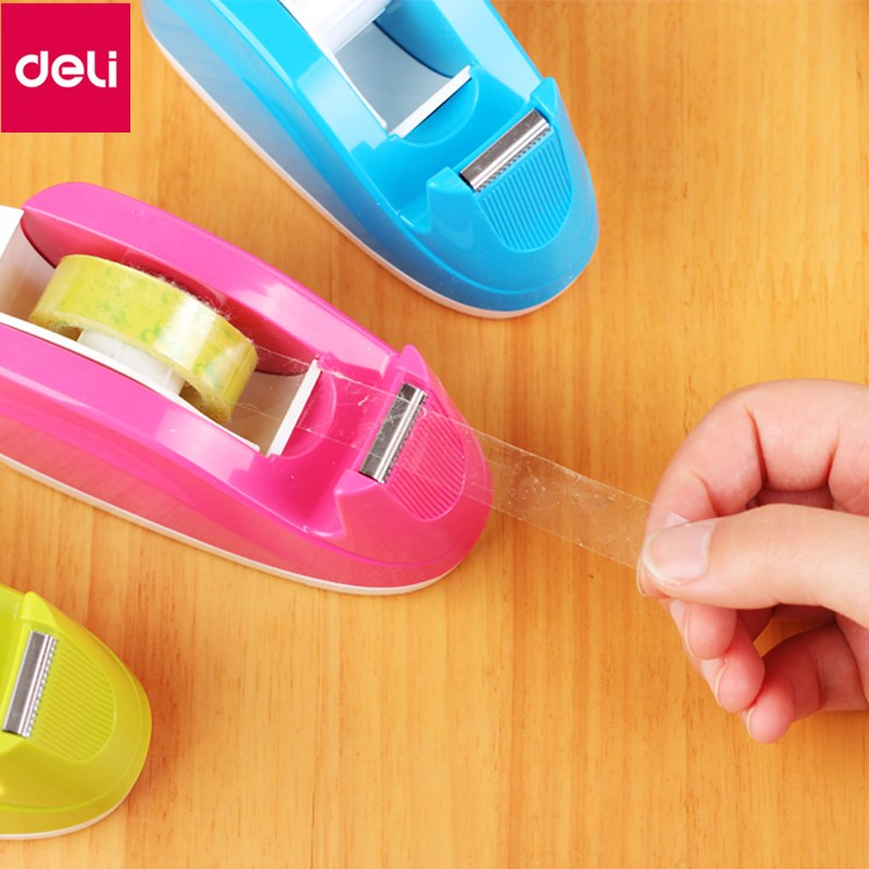 Deli 1pc Tape Dispenser Practical Plastic Convenient Adhesive Tape Dispenser Office Desktop Tape Holder with Tape Cutter new arrival practical and convenient style multipurpose cutter