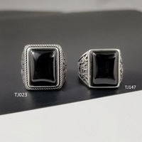 Natural Black Onyx Square Stone Solid Silver 925 Mens Ring Wide Band 100% Pure Sterling Silver 925 Mens Jewelry Thai Silver Ring