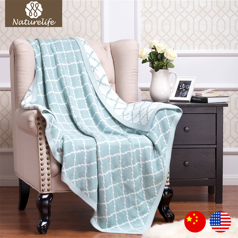 Naturelife Throw Blanket Cotton Knitted Blankets Adult Blanket Spring Autumn Sofa Blanket Cobertor Cover Double Cable Knitted