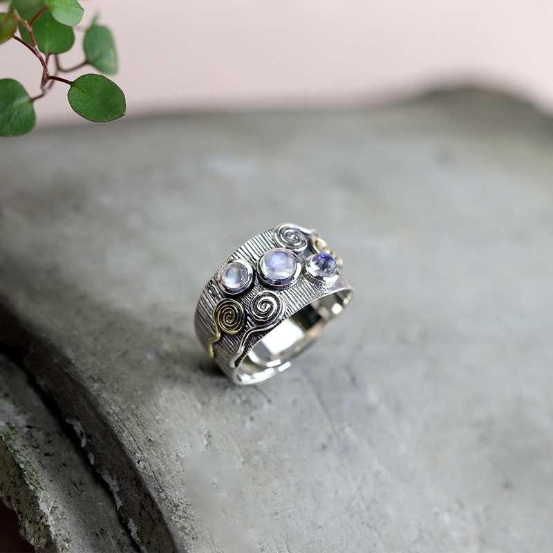 LouLeur 925 Sterling Silver Cloud มูนสโตนแหวนเงินธรรมชาติหยกหยกมูนสโตนปรับแหวนสำหรับเครื่องประดับสตรี