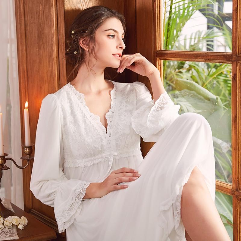 Cotton Sleep Lounge Vintage Night Dress Autumn Women Sleepwear Dress Nightdress Homewear Princess Long Nightgown Sleepshirt