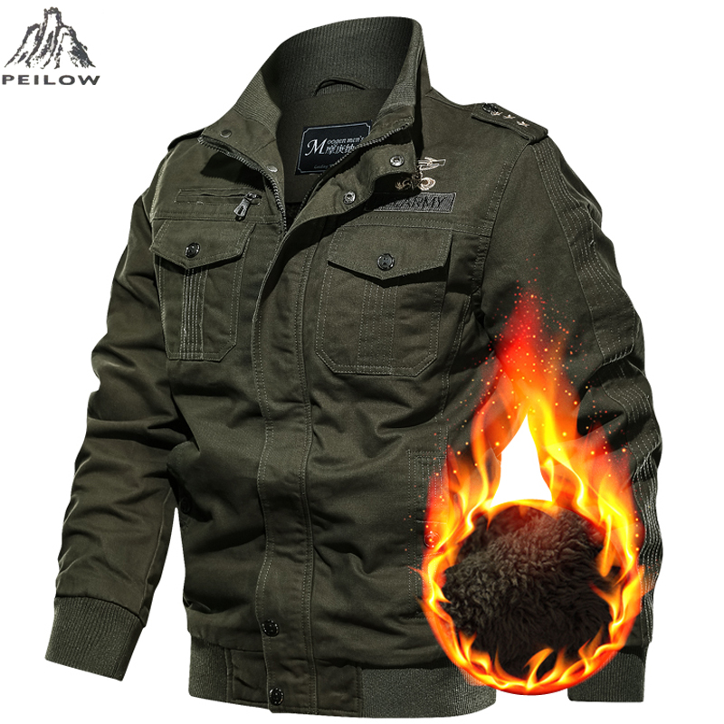 Plus Size 5XL 6XL Autumn Winter Jacket Men Plus Velvet Washed Cotton Casual Jacket Men's Windbreaker Tactical Army Parka Coats
