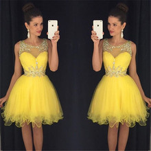 New Sexy Short Prom Dresses 2016 O-neck Sleeveless Side Front Knee Length Beads Dress 2017