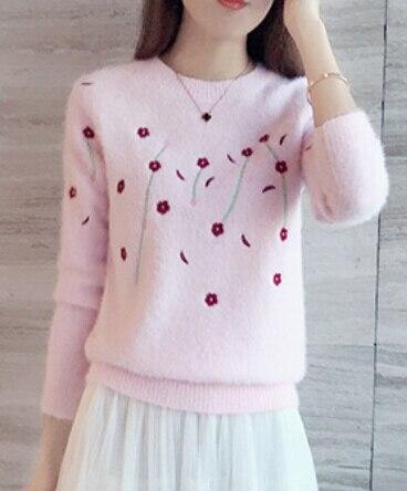 Элегантный Вязаный Свитер Женщин Вышивка Цветок О-Образным Вырезом Solid Розовый Повседневная Тонкий Кашемировый Свитер Пуловер Autumnn Зима 2016