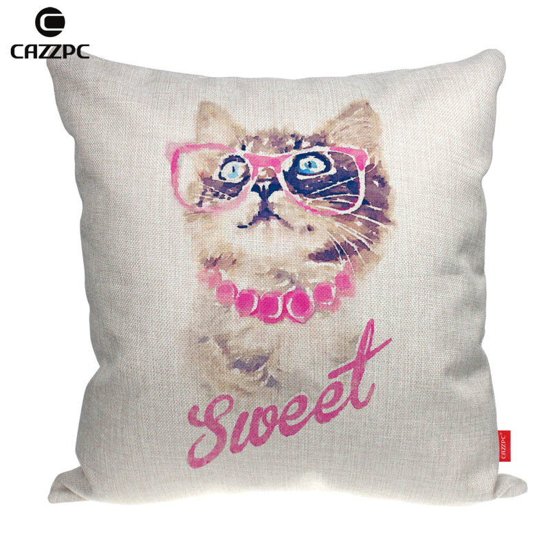 Hipster Watercolor Art Sweet Cute Cat Kitten Print Linen Car Sofa Chair Decorative Throw Pillowcase Cushion Cover Home Decor