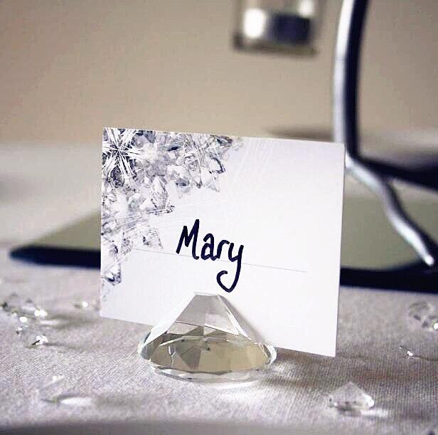 4cm Diamond Shape Crystal Acrylic Place Card Holder Wedding Favours Table Decor