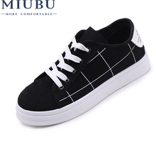 MIUBU Women New Arrivals Fashion Lace-Up Korean Version Female Shoes Solid Casual Canvas Womens Personality Grid Flats