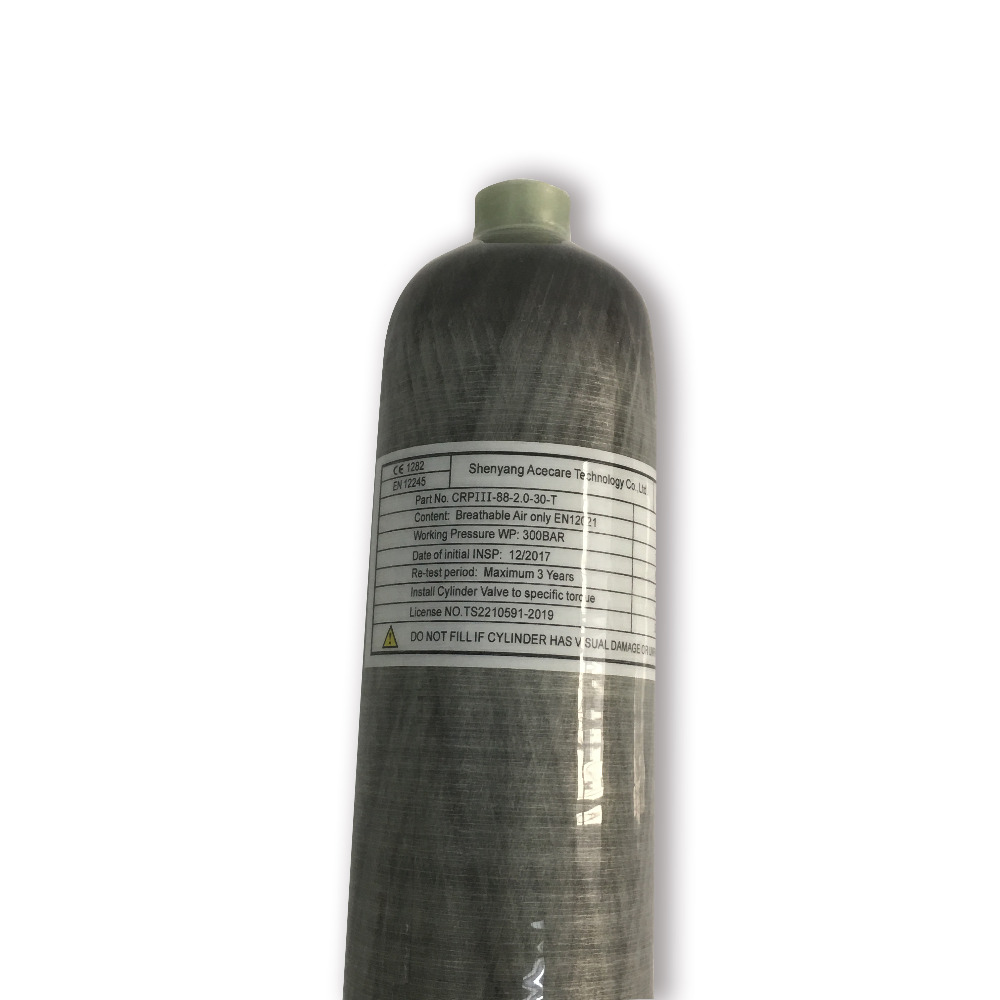 AC102 30Mpa 4500psi 2L High Pressure Carbon Fiber Dive Cylinder HPA Tank Bottle Filled By Air Compressor Drop Shipping Acecare