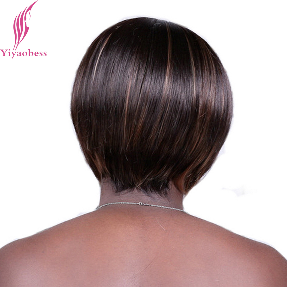 Yiyaobess 8inch Synthetic Highlights Brown Short Haircuts With Bangs