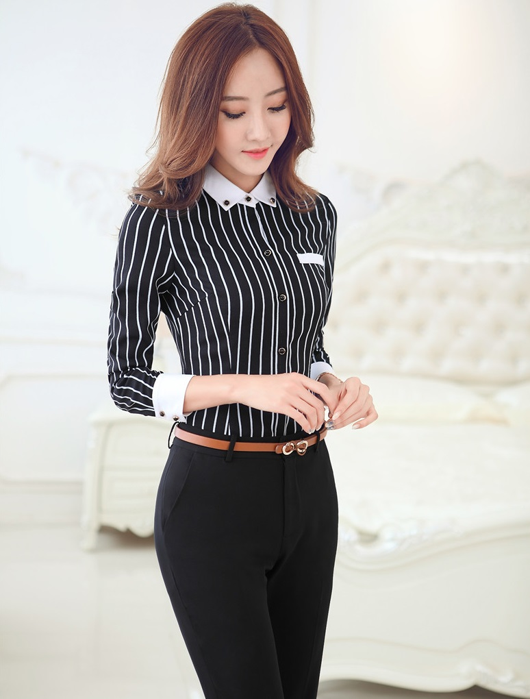 Plus Size New Uniform Style Formal Pantsuits Tops And Pants Business Work Wear Suits With Blouses Office Ladies Trousers Set