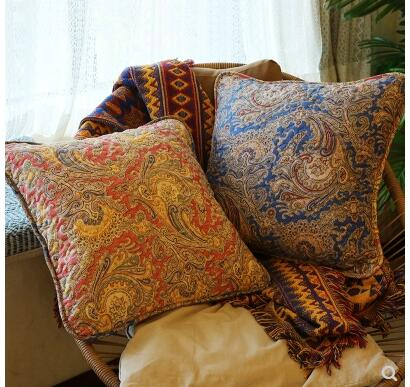 """Vintage Bodhi Leaf Stitch Embroidered Decor Linen CUSHION COVER PILLOW CASE 18/"""""""