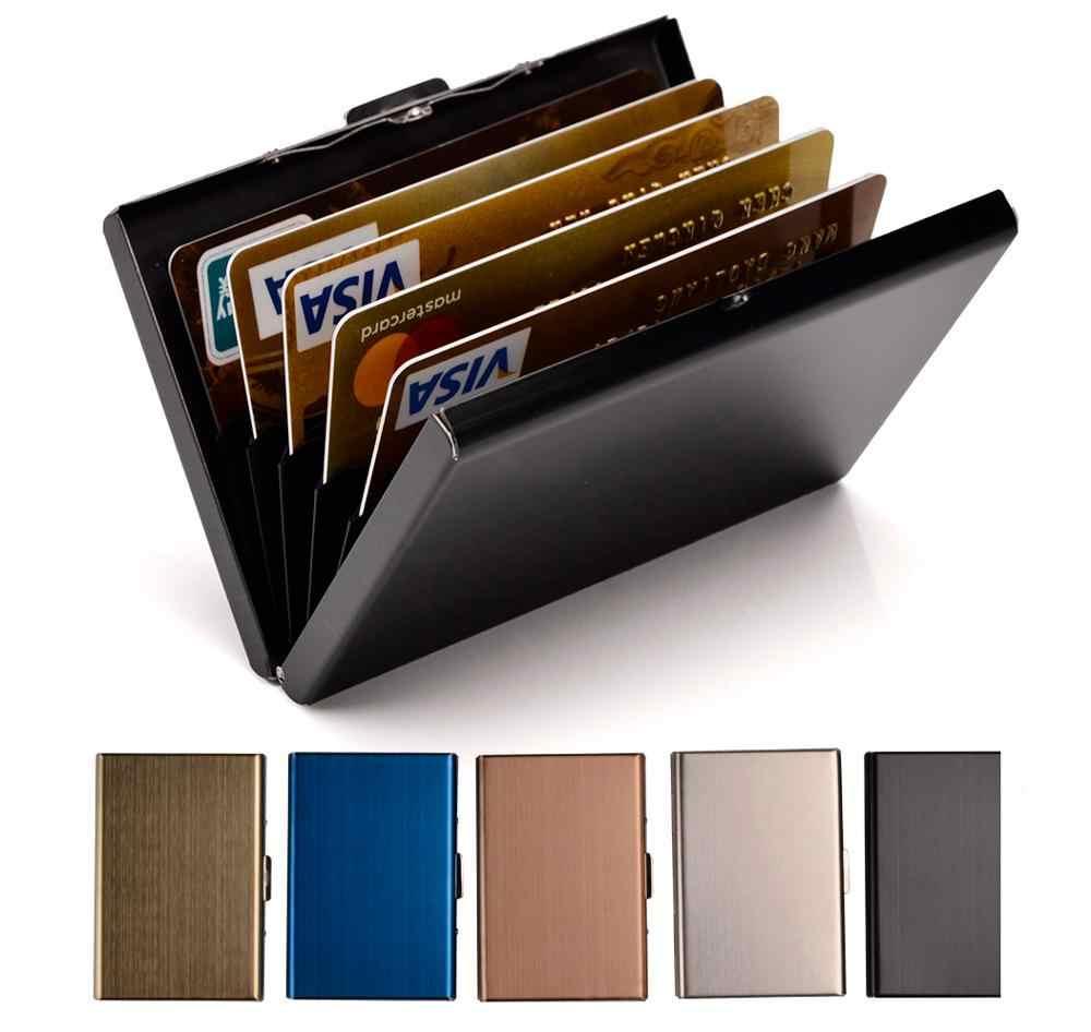 Portatarjetas de acero inoxidable para hombres y mujeres cartera portatarjetas de identificación de Metal RFID