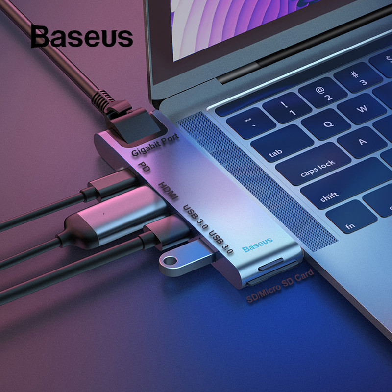 Baseus Dual Type C USB 3 0 HUB for Macbook Pro 3 USB C HUB to