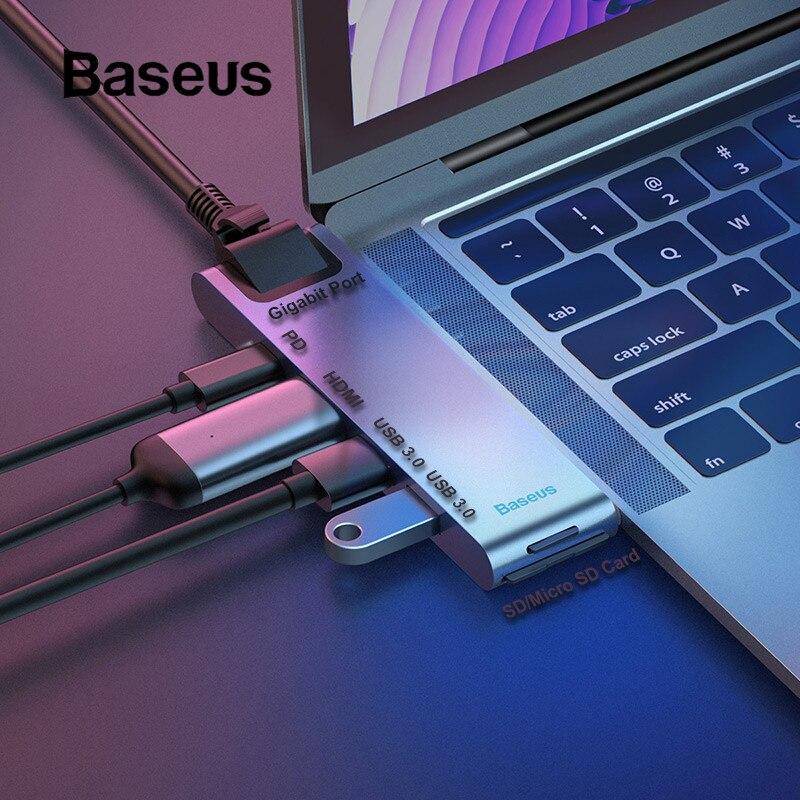Baseus double Type C USB 3.0 HUB pour Macbook Pro 3 USB C HUB vers HDMI 4 K TF lecteur de carte SD adaptateur RJ45 PD Station d'accueil 3 USB C-in Hubs USB from Ordinateur et bureautique on AliExpress - 11.11_Double 11_Singles' Day 1