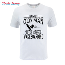 Never Underestimate An Old Man Loves Wakeboarding New T-shirt High quality men's short sleeves T-shirt Size XS-4XL clothing loves oранжевый номер 4xl