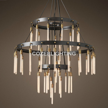 新しい大大きなホテルシャンデリア照明ledエジソン電球lamparaのシャンデリアライト用ホームホテルウェディングセンターピースの装飾