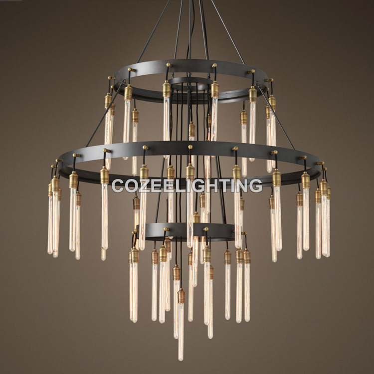 New Large Big Hotel Chandelier Lighting LED Edison Bulb Lampara Chandeliers Light for Home Hotel Wedding Centerpieces Decoration single head screw caps big industrial style hotel individuality clothing store decoration edison light bulb shop gold chandelier