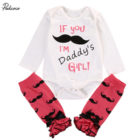 2pcs Toddler Kids Baby Girl Letter Mustache Bodysuit Shirts+Floral Leg Warmer Set Clothes Babies Girl Bodysuits Outfit Clothing