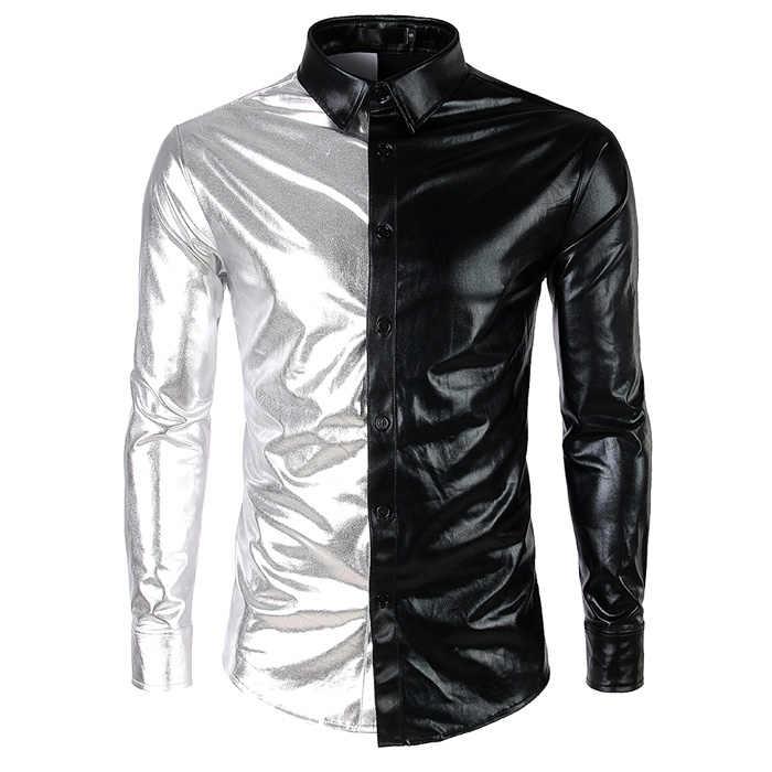 Camisa de retazos púrpura plata hombres 2018 Slim Fit brillante metálico hombres vestido camisas nueva noche Club fiesta esmoquin Chemise homme