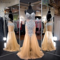 Long Prom Dresses 2020 Gorgeous Mermaid Sweetheart Beaded Crystals Floor Length African Champagne Prom Dress Party